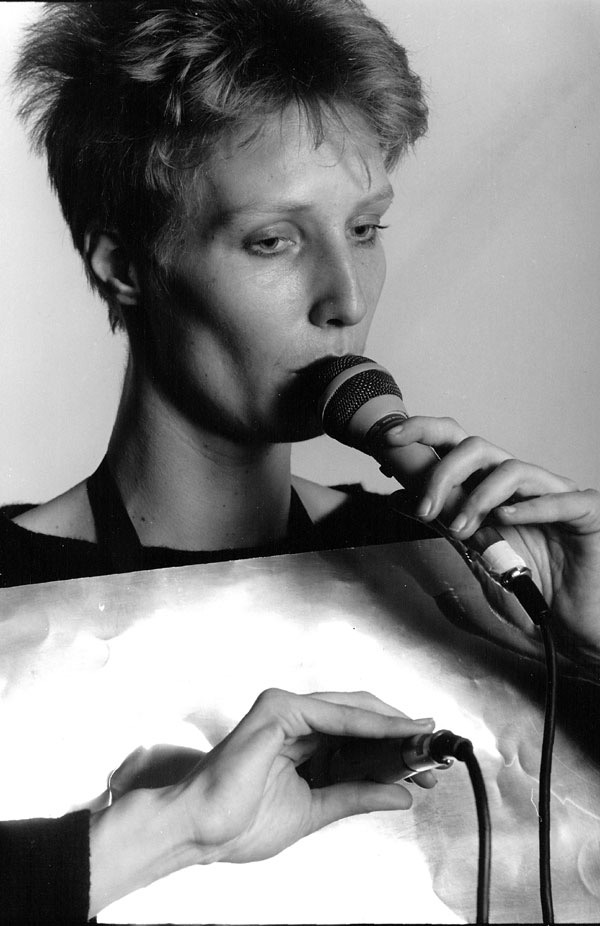 Loudspeaker dress by Ute Wassermann with two microphones