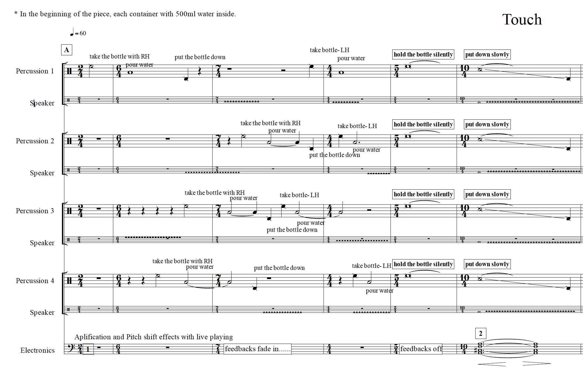 The first page of the score of Touche Nature by I-lly Cheng.