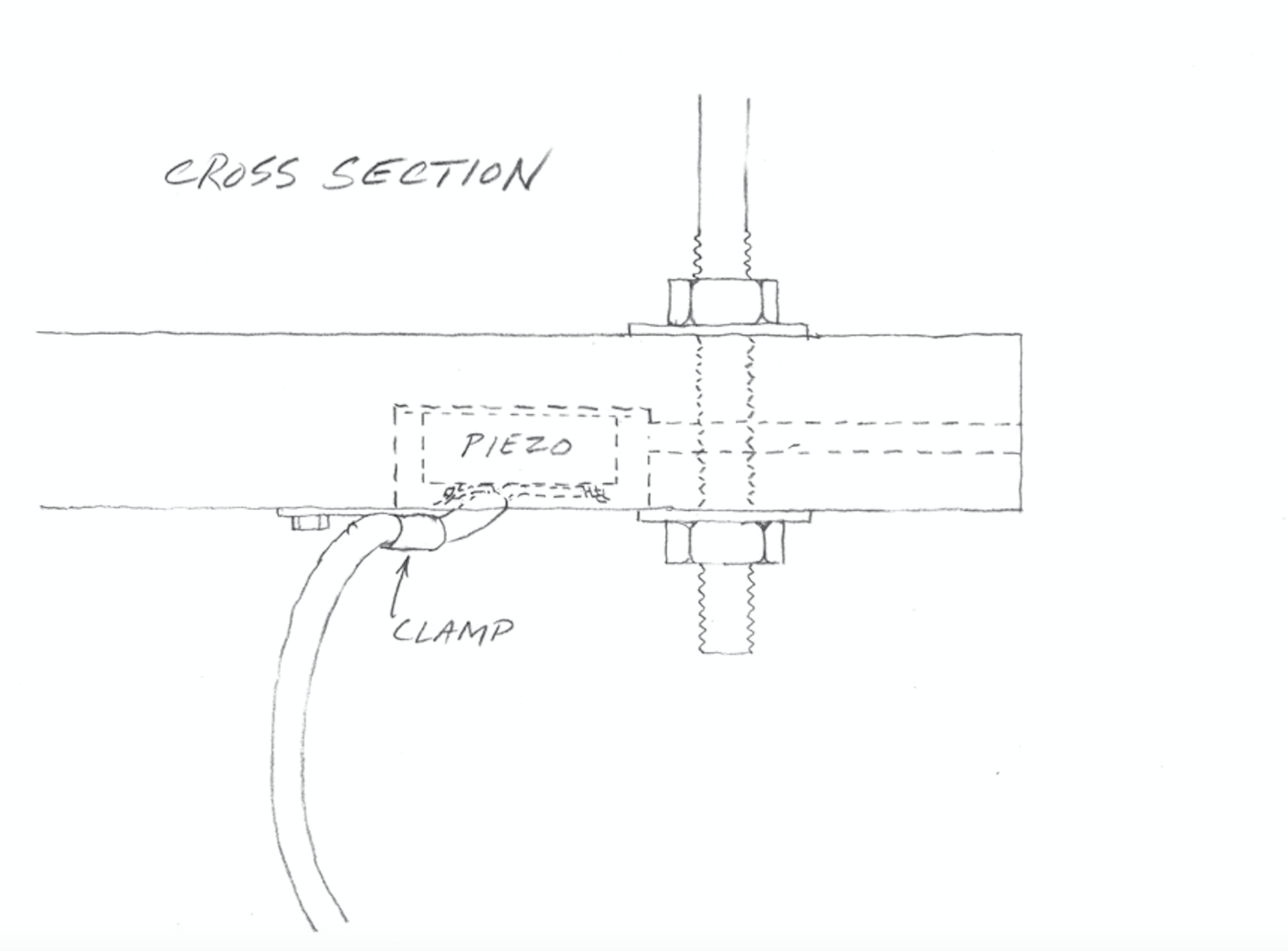 A cross section view of the mounting of the piezo disk on the Springboard. Drawing by Eric Leonardson. © Eric Leonardson