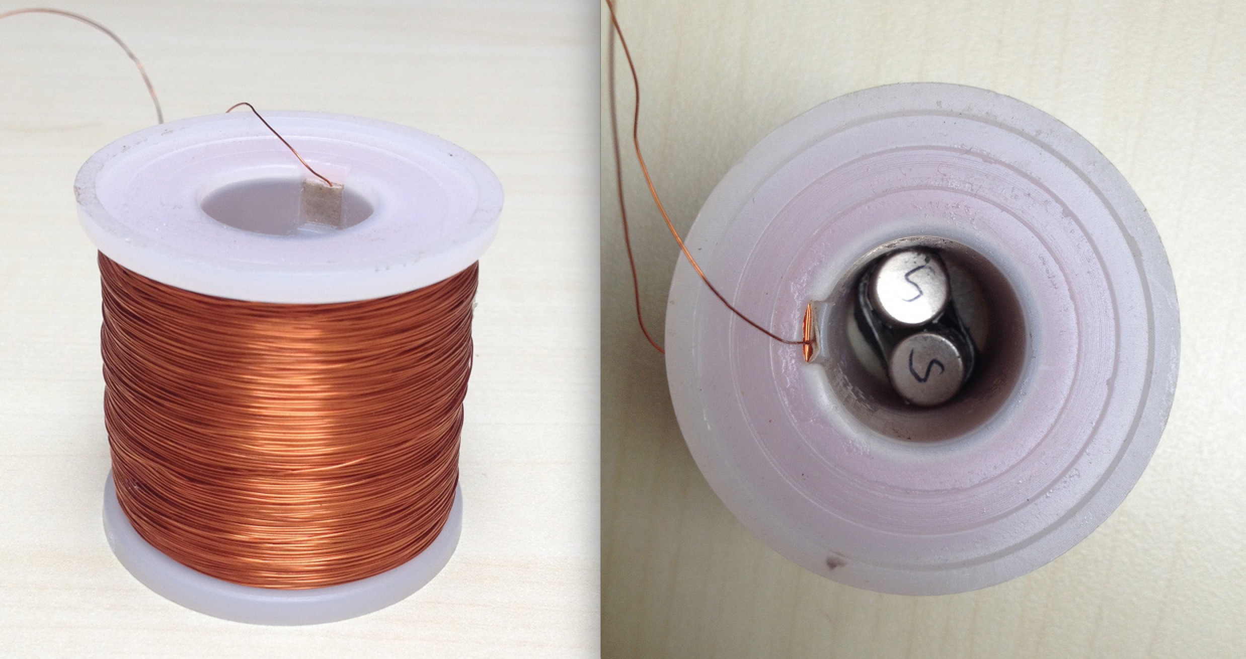 The hand-wounded electromagnets, with the permanent magnets inside the plastic reel.
