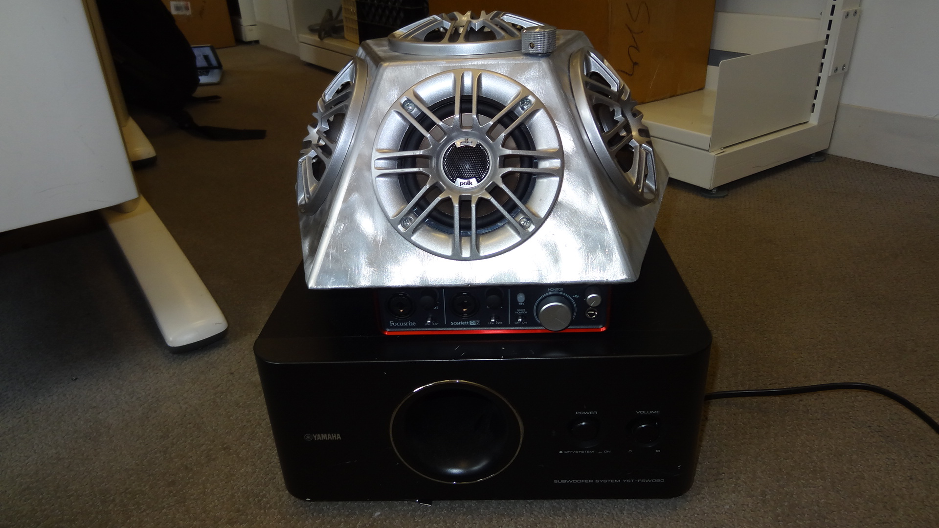 hemispherical loudspeaker on subwoofer
