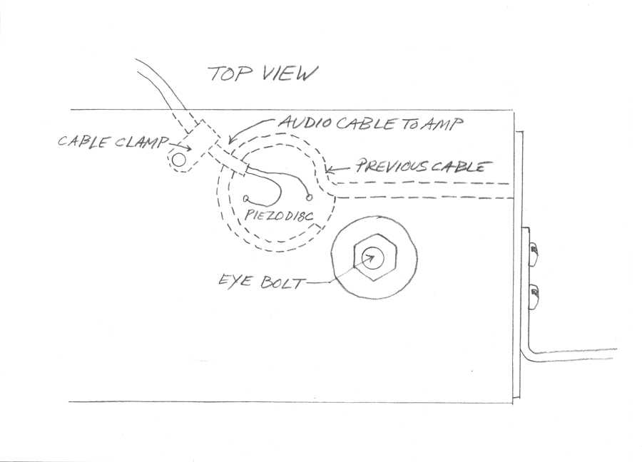 Top view of the contact microphone mounted on the Springboard. Drawing by Eric Leonardson, © Eric Leonardson