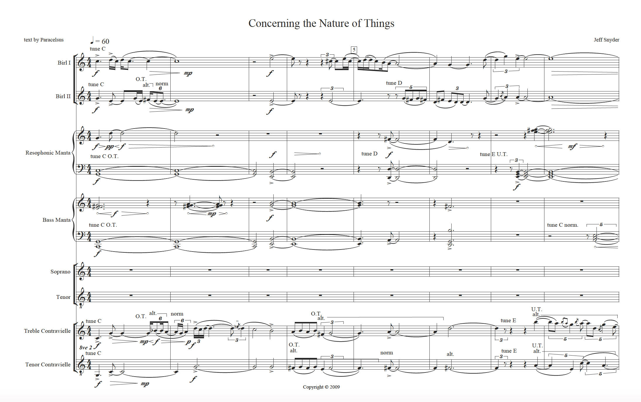 score for new electroacoustic instruments Jeff Snyder